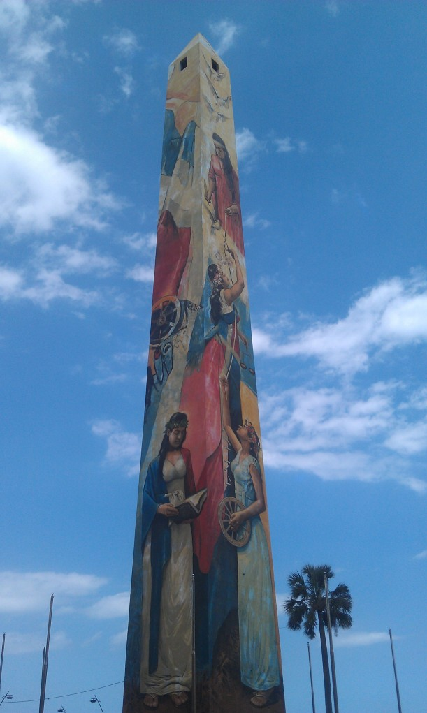 Painted Obelisk to honor the Mirabal Sisters who were assassinated because of their opposition to the dictatorship of Rafael Trujillo in 1960.